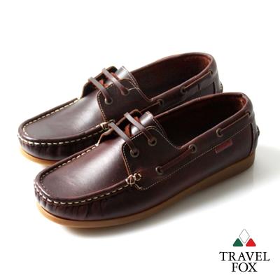 Travel Fox(男)★耶魯王子全牛皮經典版帆船鞋 - 幸福咖