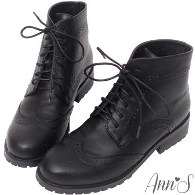 Ann'S英倫風-復古雕花牛津層次綁帶低跟短靴-黑
