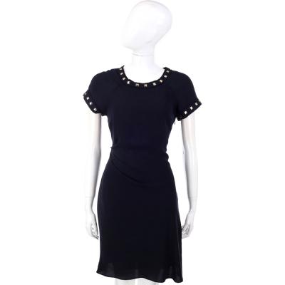 Michael Kors 深藍色鉚釘滾邊設計短袖洋裝