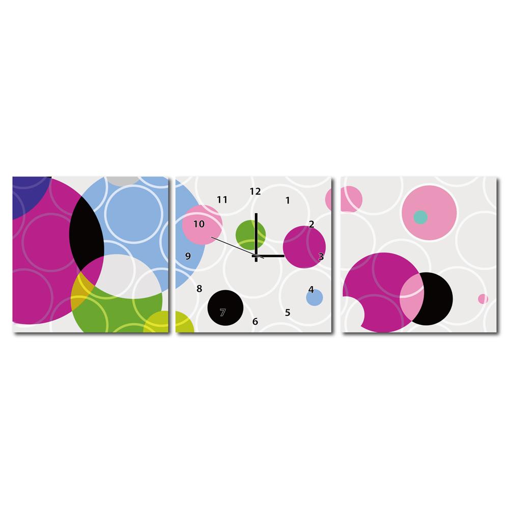 美學365 - 三聯式普普風無框藝術時鐘- 彩圈 30x30cm