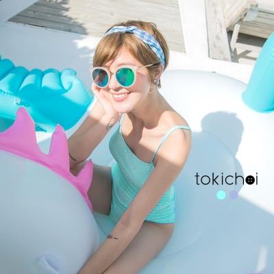 東京著衣 韓國同步綁帶連身泳裝-S.M(共二色)