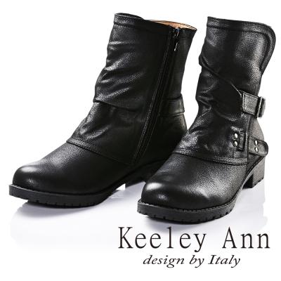 Keeley Ann騎士風格~可反摺拼接雙皮帶飾釦造型低跟短靴(黑色)