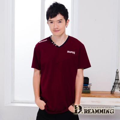 Dreamming 時尚簡約釦飾萊卡彈力V領短T-共二色