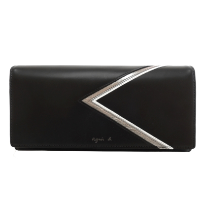 agnes b.燙金logo三角幾何翻蓋長夾(黑)