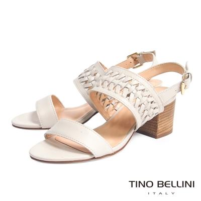 Tino Bellini 巴西進口知性質感編織鏤空中跟涼鞋_米白