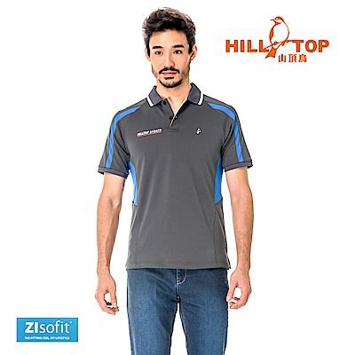 【hilltop山頂鳥】男款吸濕排汗抗UVPOLO衫S14MG0-印墨