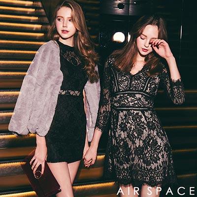AIR SPACE  法式蕾絲花邊透膚V領洋裝(黑)
