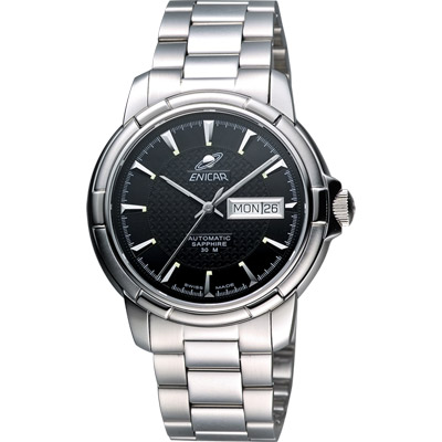 ENICAR 英納格 航行經典日曆機械腕錶-黑x銀/41mm