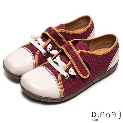 DIANA-文青休閒-雙色拼接圓頭舒適包鞋-紅