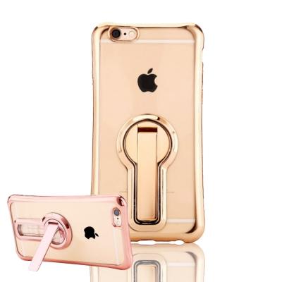 水漾-iPhone7(5.5)小蠻腰空壓鍍邊手機支架TPU手機軟殼(送玻璃保護貼...