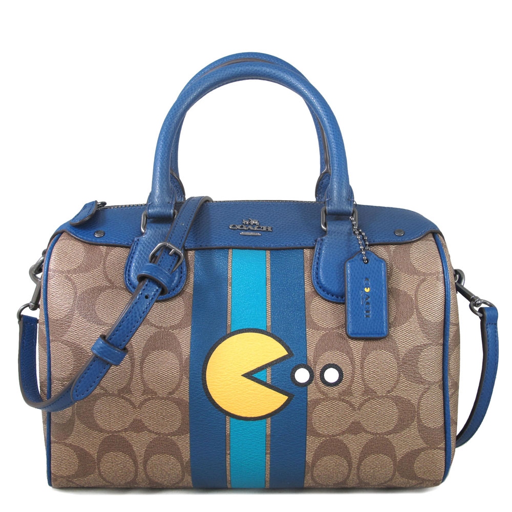 COACH x PAC MAN 小精靈限量款 防潑水Logo波士頓兩用包(藍色)