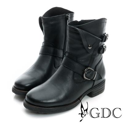 GDC個性-三皮帶造型反折軍風真皮中筒靴-黑色