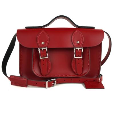 The Leather Satchel 英國手工牛皮劍橋包 肩背手提包 心機紅 11吋