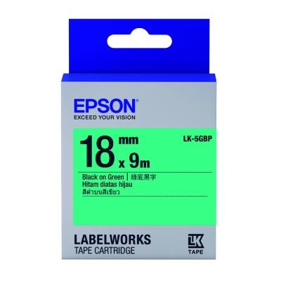 EPSON C53S655405 LK-5GBP粉彩系列綠底黑字標籤帶(寬度18mm)