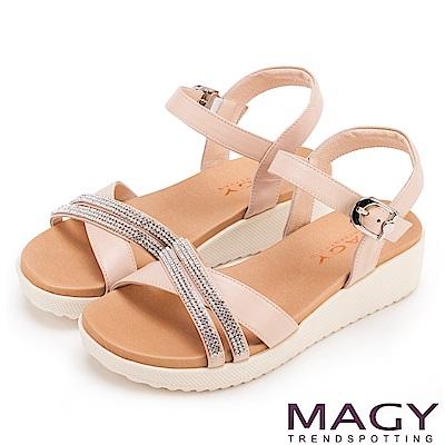 MAGY 夏日時尚 燙鑽交叉牛皮舒適厚底涼鞋-粉紅