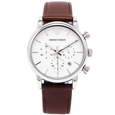 ARMANI 經典極簡優雅三眼男性手錶(AR1846)-白面x咖啡色/40mm