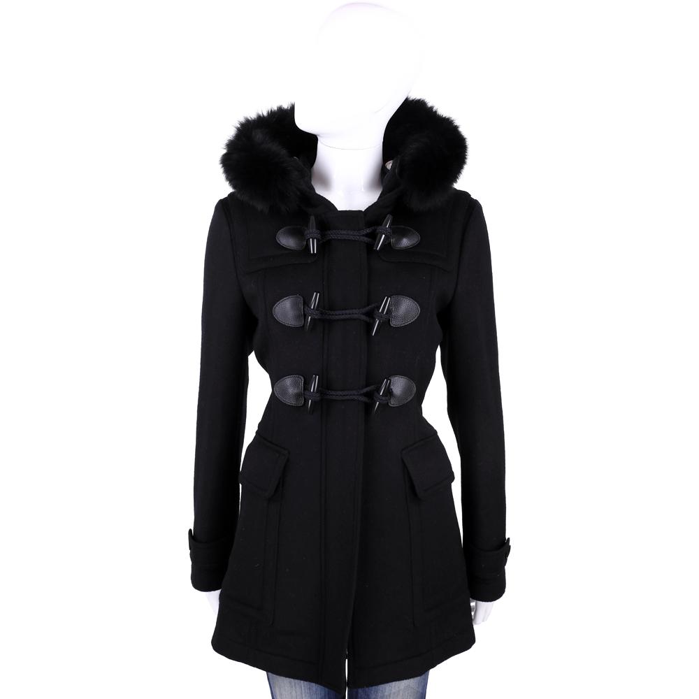 BURBERRY 黑色牛角釦羊毛皮草連帽大衣