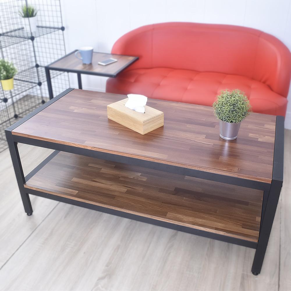 凱堡 工業風集成木紋大茶几桌 防潑水128x60x54cm