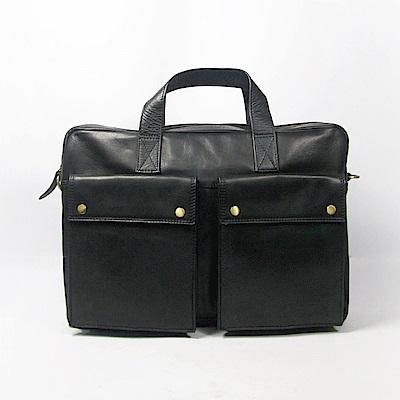 CALTAN-斜背包 男用 公事包 手提包 兩用包 真皮包 牛皮-5206cd-bk