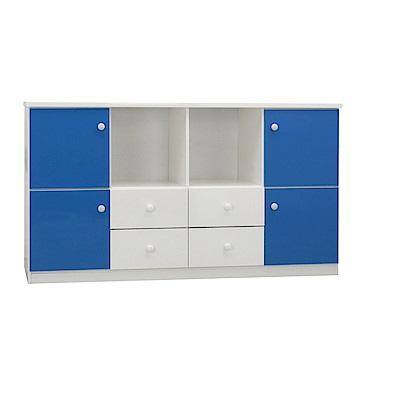 品家居 瑪格5.5尺環保塑鋼四門四抽收納櫃(五色)-164x43x92cm-免組