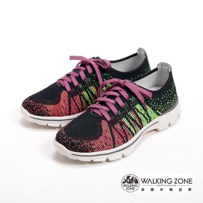 【WALKING ZONE】飛線氣墊慢跑鞋 彩虹針織運動鞋 情侶鞋(男款)-紫