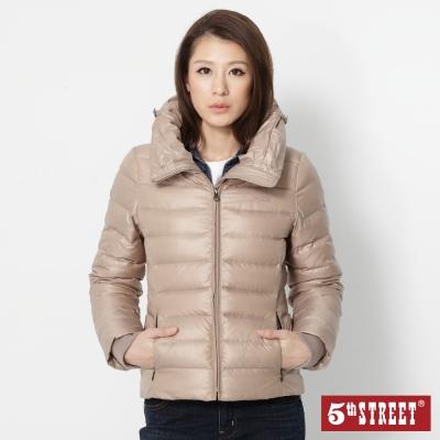 5th STREET 前衛造型領羽絨外套-女-淺卡其