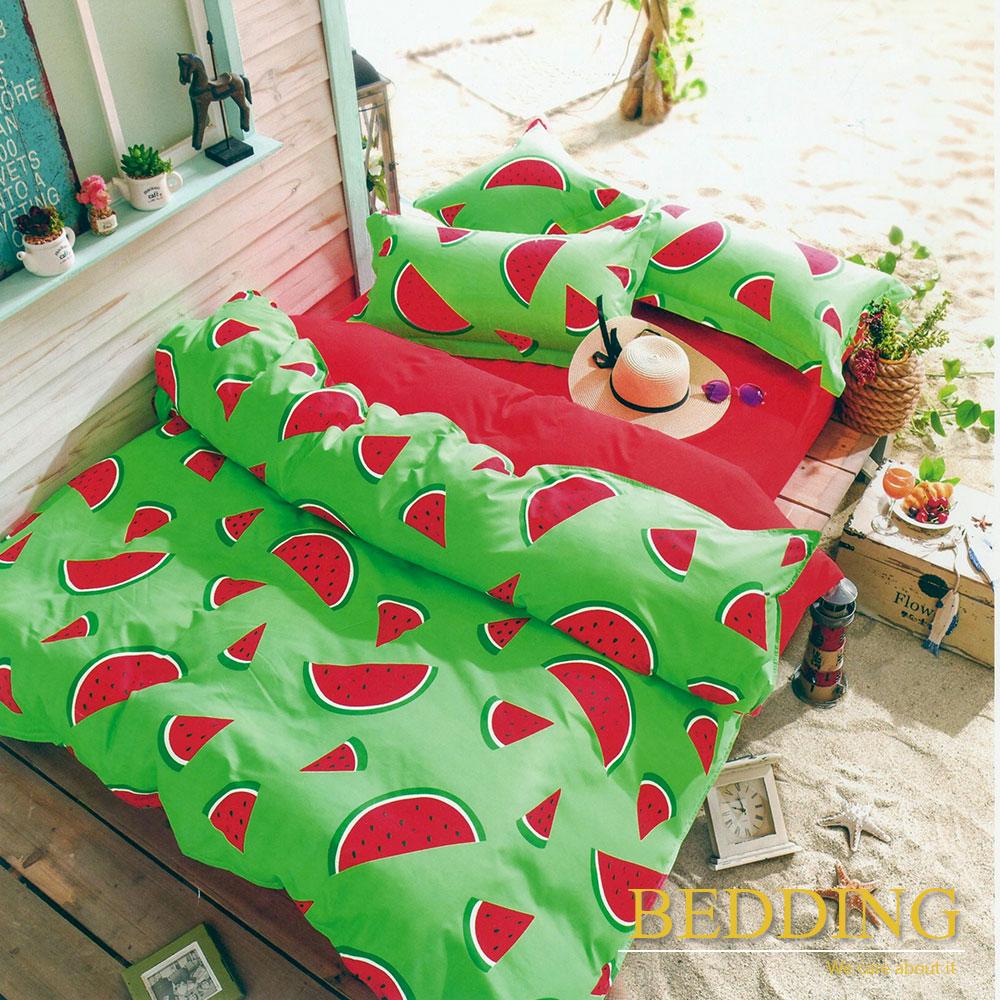 BEDDING  活性印染 單人床包涼被組  西瓜