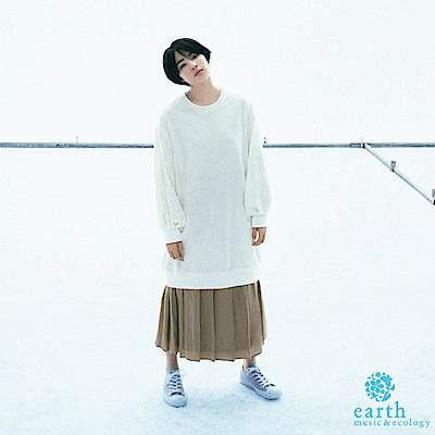earth music SET ITEM 寬鬆素面長版上衣+百摺裙