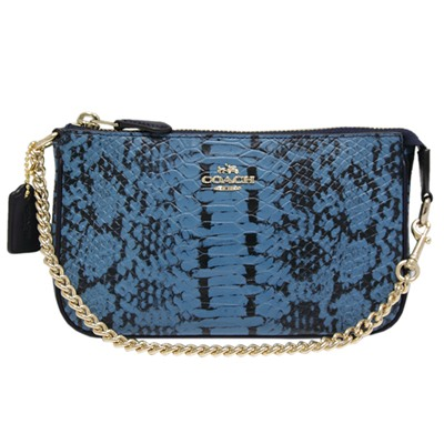 COACH 金屬鏈帶蟒蛇紋皮革手提晚宴包-蟒紋藍(小)