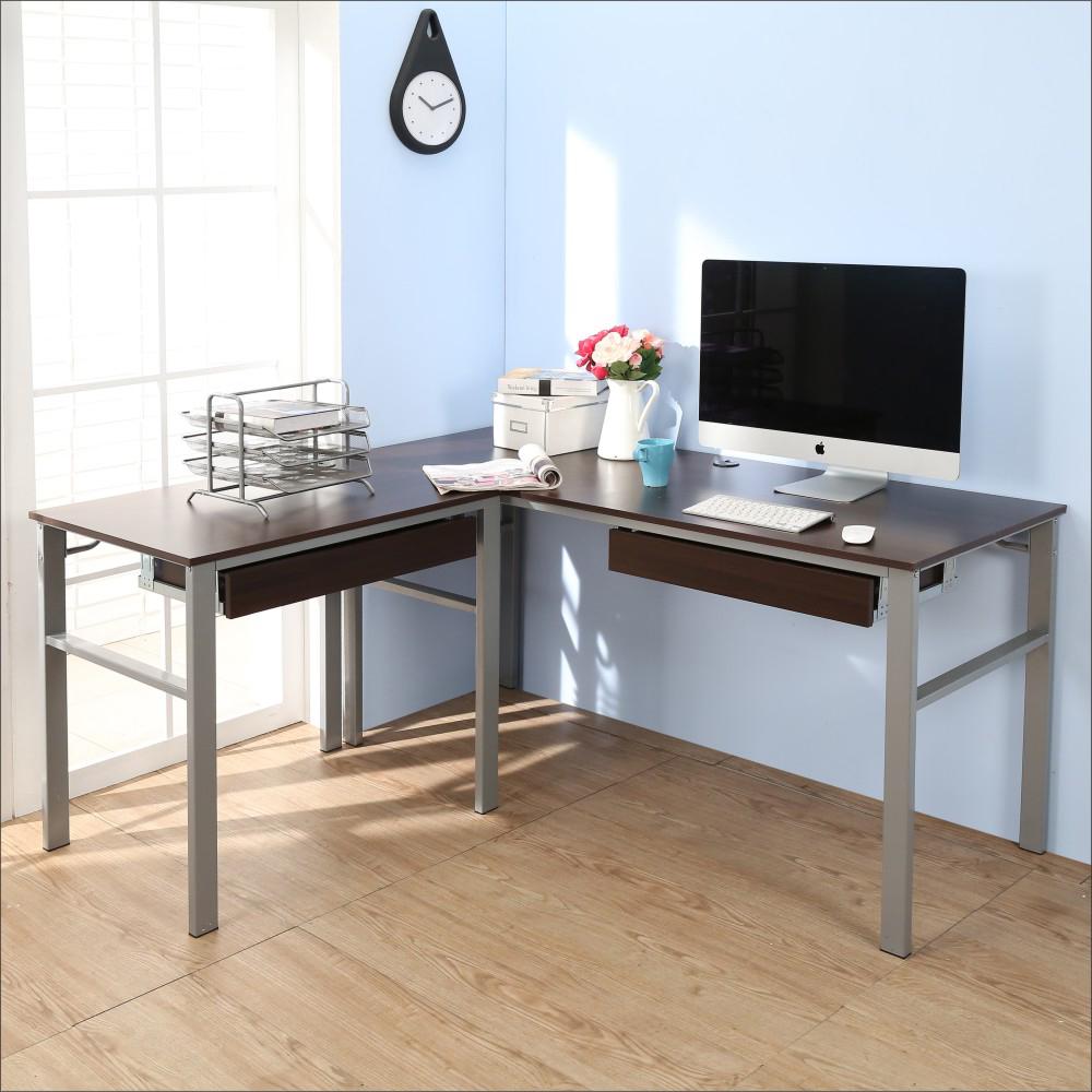 BuyJM低甲醛防潑水L型160+80公分雙抽屜穩重型工作桌-DIY
