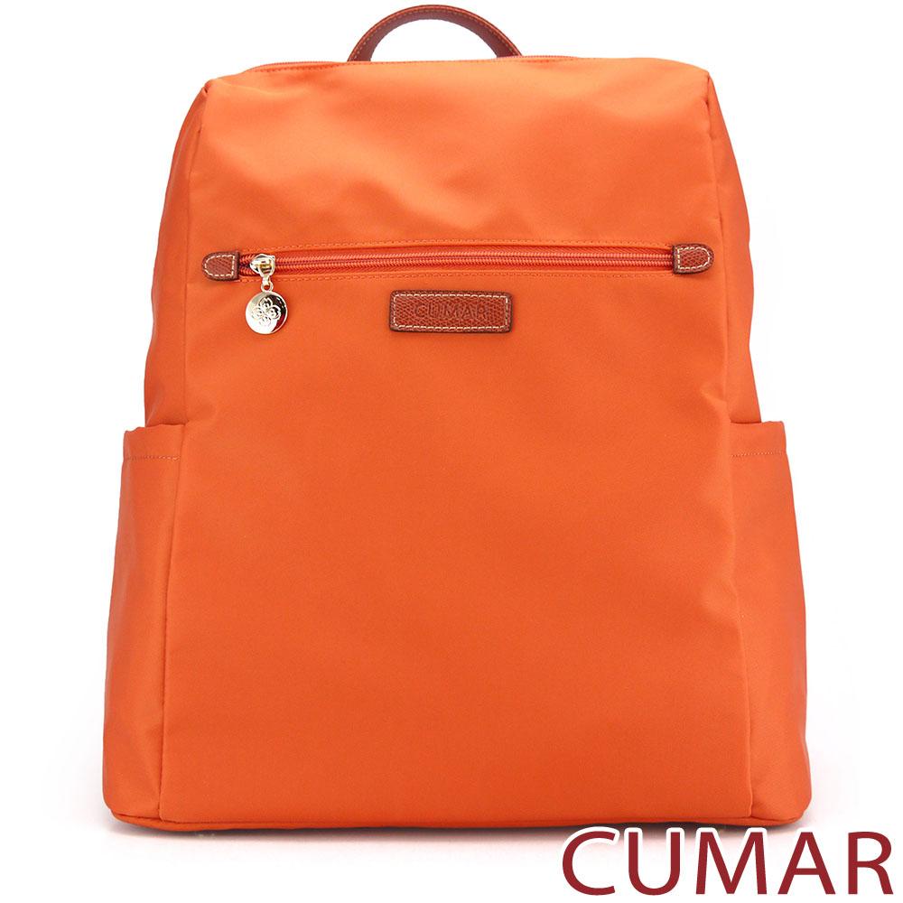 CUMAR-輕量防潑水尼龍大方後背包-橘