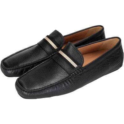 BALLY 經典織帶牛皮壓紋樂福鞋(黑色)