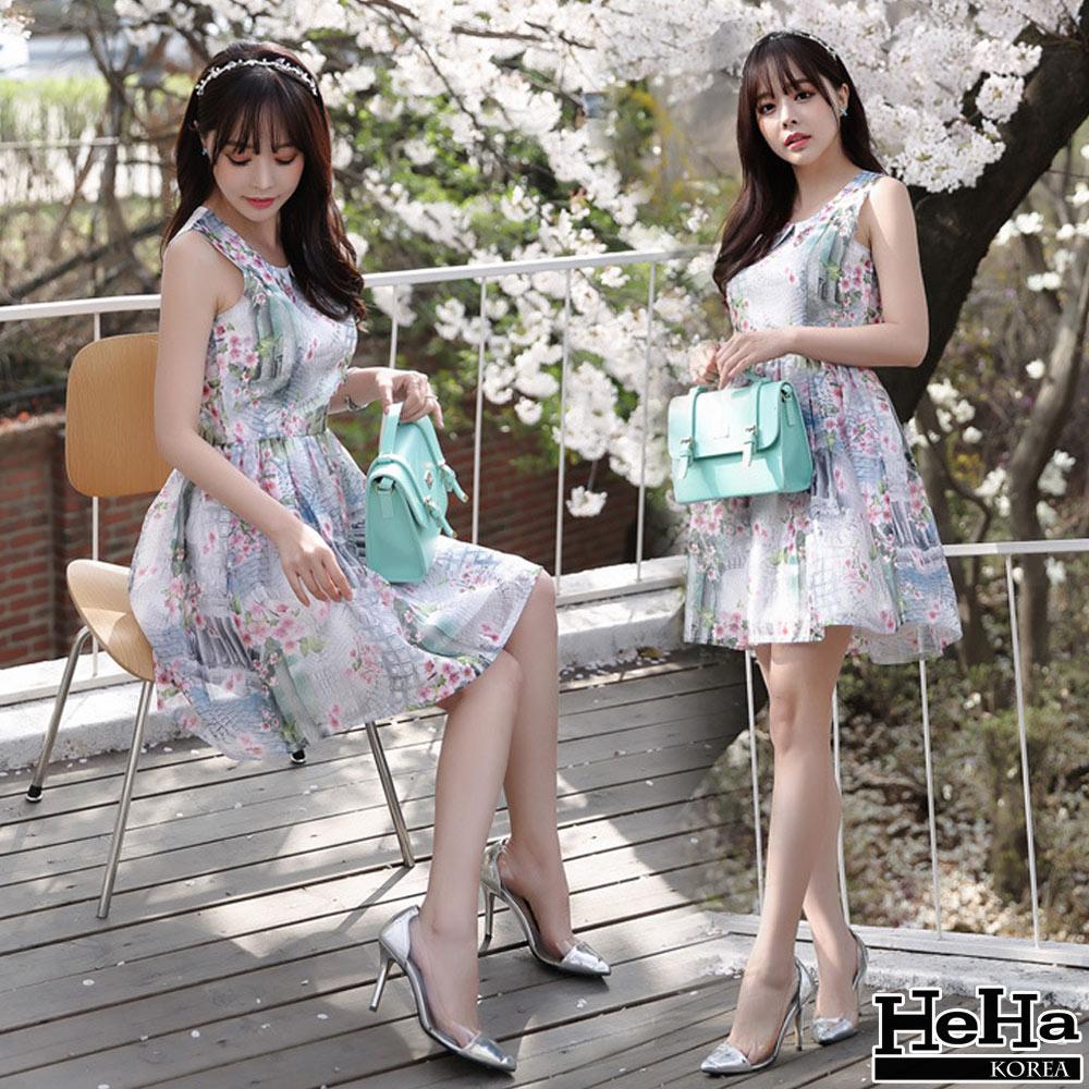 洋裝 歐根紗印花無袖連身裙(贈別針)-mini嚴選
