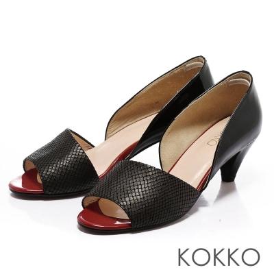 KOKKO-通勤OL-拼接全真皮魚口高跟鞋-素黑