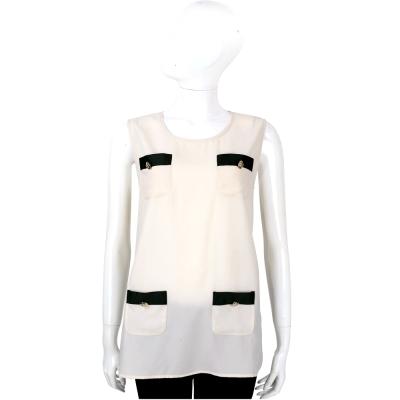 EDWARD ACHOUR PARIS 米白色口袋設計無袖上衣