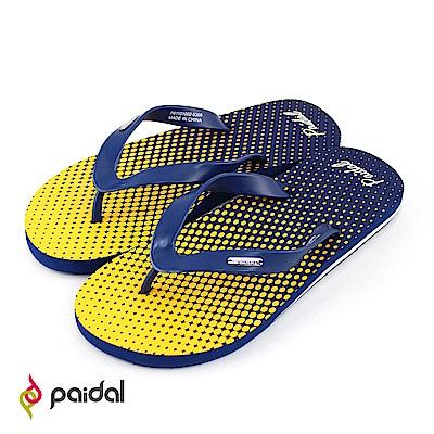 Paidal普普風漸層網眼人字拖海灘拖夾腳拖鞋-黃