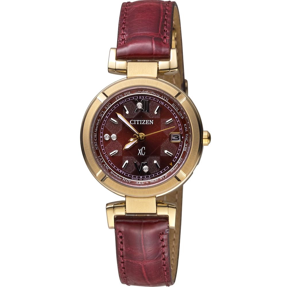 CITIZEN xC系列 幸運時刻電波腕錶(EC1117-02W)-酒紅/28mm @ Y!購物