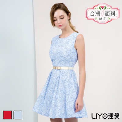 LIYO理優MIT玫瑰印花無袖洋裝(紅,藍)