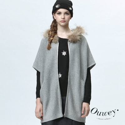 OUWEY歐薇-皮草連帽大斗蓬外套