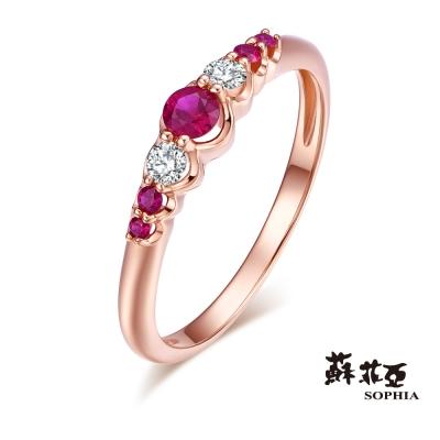蘇菲亞SOPHIA 寶石戒指 - 奧蘿娜鑽石佐紅寶玫瑰金線戒