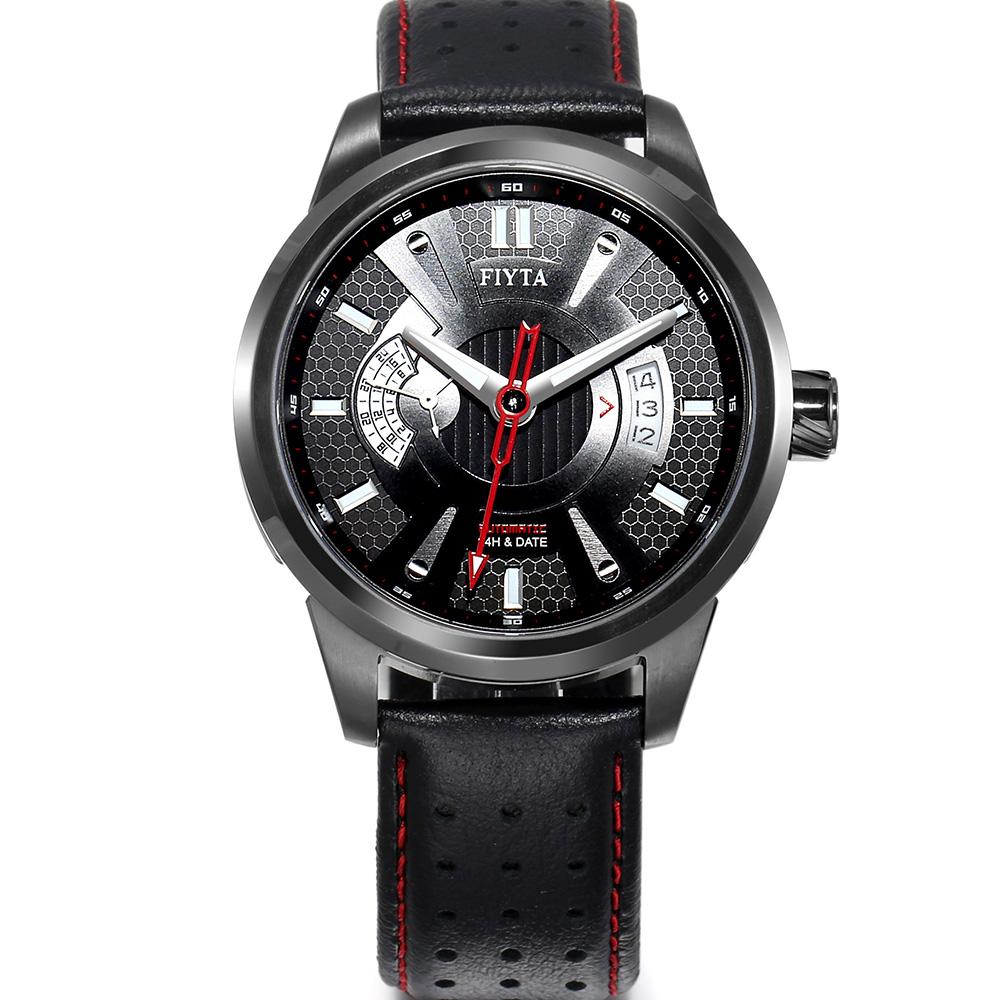 FIYTA飛亞達 極限系列車元素機械皮帶男錶(WGA8448.BBB)-黑/42mm