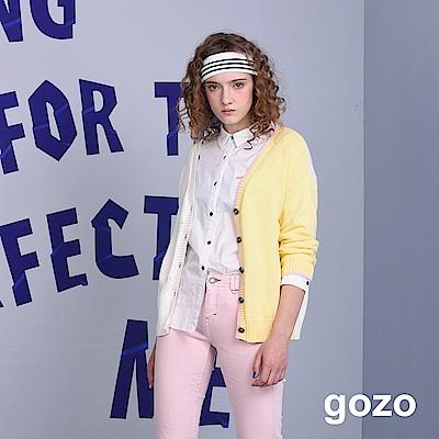 gozo 配色拼接開扣長袖針織衫(二色)