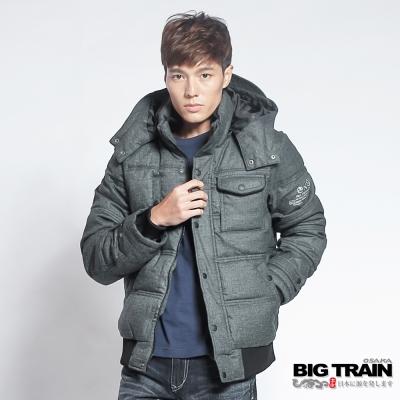 BIG-TRAIN-人字紋仿毛呢絲棉外套-男-黑色