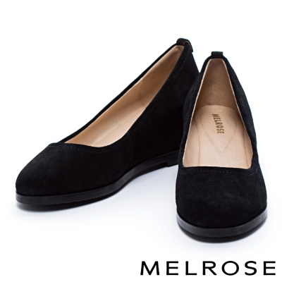 高跟鞋-MELROSE-時尚素色牛絨皮內增高高跟鞋-黑