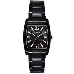 GOTO 二次方的魅力時尚腕錶-IP黑x玫瑰金刻度/28mm