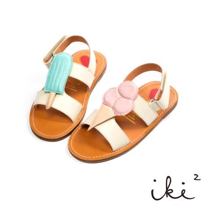 iki2 童鞋-冰淇淋派對撞色魔鬼氈涼鞋-米白