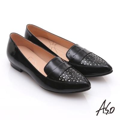 effie 輕透美型 鏡面羊皮混異材質樂福平底鞋 黑