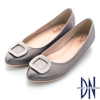 DN 典雅名媛 晶鑽方釦內增高平底鞋-灰