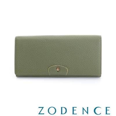 ZODENCE 袖釦系列荔枝牛皮豆點LOGO設計雙蓋長夾 橄欖綠