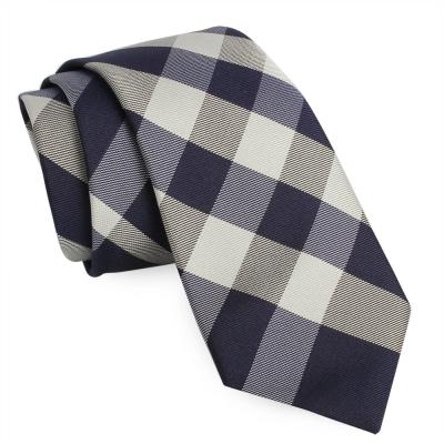 BURBERRY 經典斜格紋絲綢領帶-深藍色